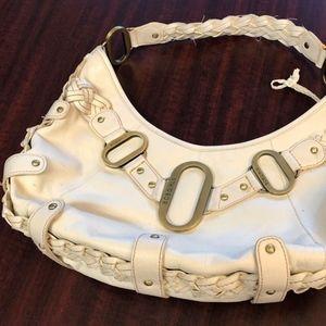 BCBGirls White/Cream Leather Braided Purse Handbag